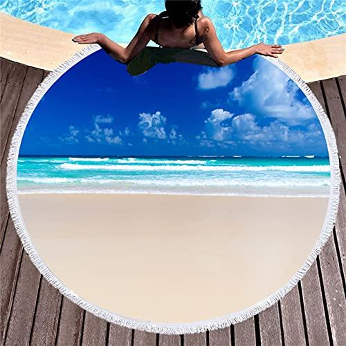 Toallas De Playa Redondas con Impresión Digital Ocean and Baiyun, Toallas De Microfibra, Tapetes De Playa Absorbentes De Secado Rápido, Tapetes para Picnic 150 * 150cm