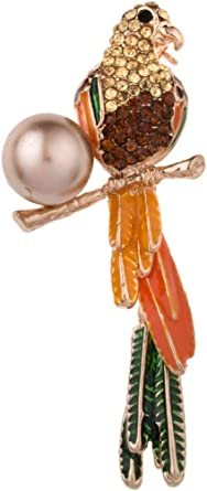 Women's Brooch Stylish Colorful Rhinestone Plated Lovely Bird Design Brooch