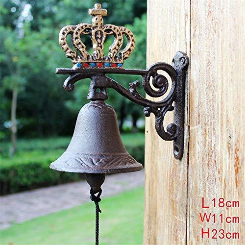 deurbel antieke hardware kroonijzer bel klassieke rustieke metalen diner bel welkom teken ring bel muur montage deur decoratieve werf teken voor tuin boerderij werf schip bel vintage stijl muur