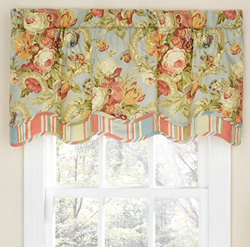 """Waverly Spring Bling Valances for Windows Rod Pocket Curtains for Kitchen and Living Room, 52"""" x 18"""", Vapor"""
