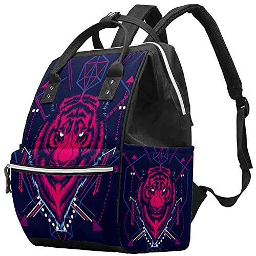 WJJSXKA Zaini Borsa per pannolini Laptop Notebook Zaino da viaggio Escursionismo Daypack per donna Uomo - Testa di tigre in stile geometrico sacro