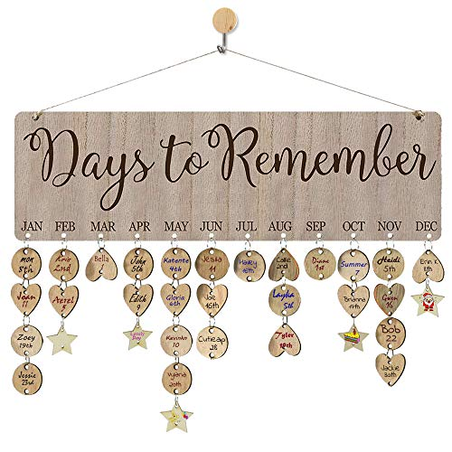 Gifts for Mom Birthday Tracker Calendar Board Wall Hanging with 110 Wood Tags for Home Office Classroom Decorative Plaque for Christmas Presents