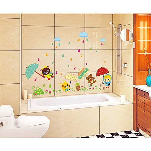 TYOLOMZ Leuke Dieren een Paraplu Kinderen Kamer Muur Huishoudelijke Adornment Muur PVC Verwijderbare Muurstickers