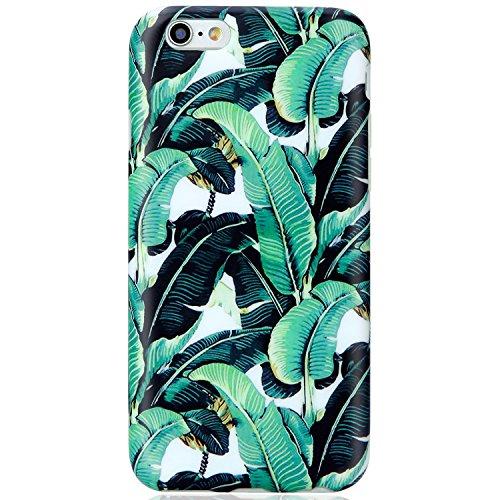 VIVIBIN iPhone 6 Case,iPhone 6s Case,Cute Green Banana Leaves Women Girls Men Clear Bumper Best Protective Soft Silicone Rubber Matte TPU Cover Slim Fit Phone Case iPhone 6/iPhone 6s