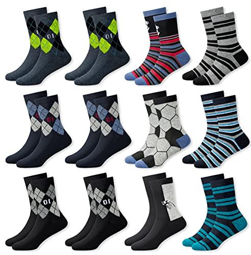 MC.TAM® Jungen Bunte Socken Strümpfe 12 Paar 90prozent Baumwolle Oeko Tex® Standard 100, 31-34, 12 Paar Jungen Strümpfe