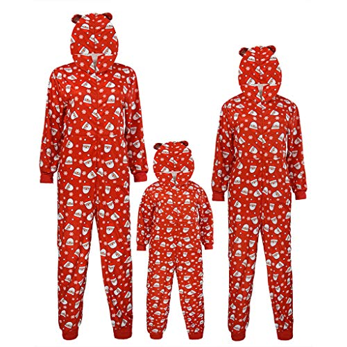 Weihnachten Familie Pyjama Jumpsuit Kapuze Mama Papa Kind Weihnachtsmann Christmas Familien Outfit Set Matching Schlafanzug