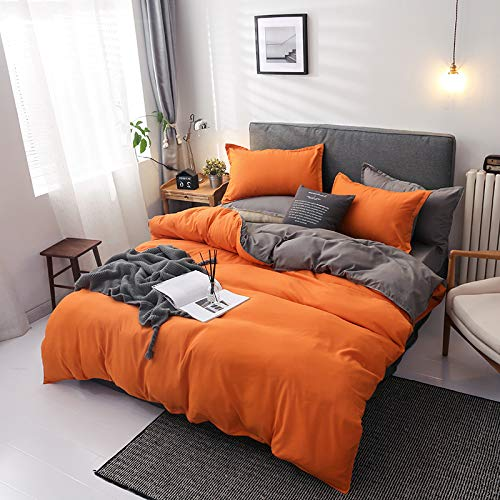 Damier Ropa de cama 135 x 200 naranja y gris, reversible, juego de 2 piezas, suave microfibra, funda nórdica con cremallera y 1 funda de almohada de 80 x 80 cm