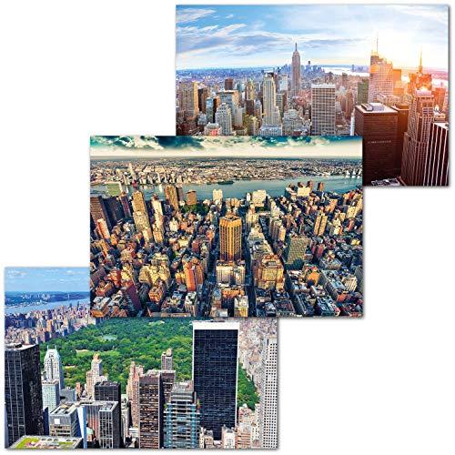GREAT ART Juego de 3 Carteles XXL – Perspectivas de Nueva York – Skyline Estados Unidos América Manhattan Brooklyn Central Park Decoración de Pared Cada uno 140 x 100 cm