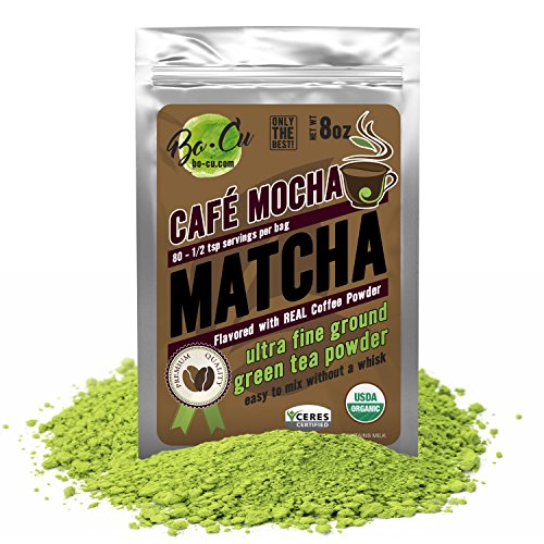Cafe Mocha Flavored Organic Matcha Green Tea Powder - 80 Servings, 8 oz - Real Coffee Natural Flavored Instant Tea for Drinking, Smoothies or Baking, Grade A Matcha
