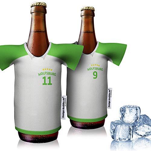 vereins-Trikot-kühler Home für VFL Wolfsburg Fans   2er Fan-Edition  2X Trikots   Fußball Fanartikel Jersey Bierkühler by Ligakakao
