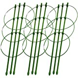"Sunnyglade Plant Support Cages 18 Inches Plant Cages with 3 Adjustable Rings, Pack of 3 (18"")"