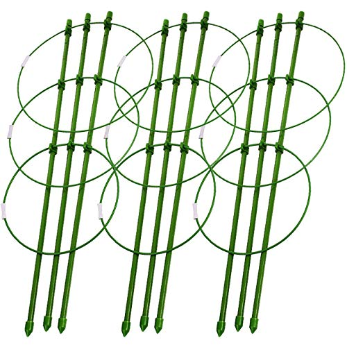 Sunnyglade Plant Support Cages 18 Inches Plant Cages with 3 Adjustable Rings, Pack of 3 (18')