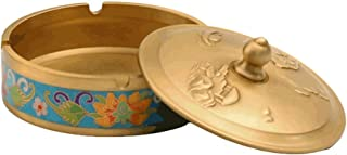 Ashtray, Cloisonne Enamel Ashtray With Lid Handmade Brass Ash Tray Windproof For Indoor Outdoor Exquisite Desktop Decor As...