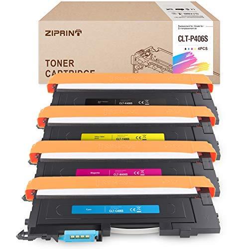 4 ZIPRINT Toner Kompatibel Samsung CLT-P406C CLT-P406S für Samsung CLP-360 CLP-362 CLP-363 CLP-364 CLP-365 CLP-367 CLP-368 CLX-3303 CLX-3304 CLX-3305 CLX-3307
