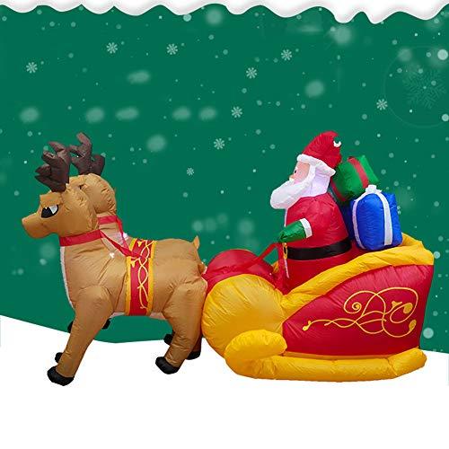 Kalaokei 2,2 Mt Weihnachten Aufblasbare LED-Licht Santa Schlitten Puppe Party Dekoration Ornament US-Stecker ^