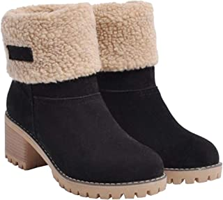 Women's Winter Snow Boots Warm Suede Chunky Heel Fur Lined Winter Boots