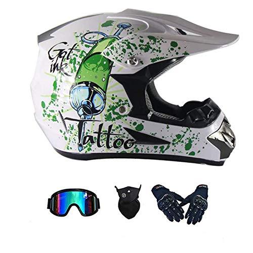 LALAGOU - Casco de motocross infantil integral para BMX MTB ATV, certificación ECE y DOT, con gafas, guantes, máscara, casco de moto (BLANC, M 54-55 cm)