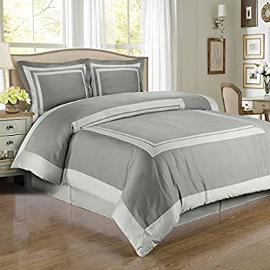 Hotel Gray and Light Gray 3-Piece Full / Queen Comforter Cover (Duvet-Cover-Set) 100-Percent Cotton, 300-Thread-Count