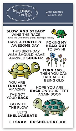 Turtle Trio Clear Stamps | Animal Rubber Stamps | Photopolymer Stamps | Card Making Supplies