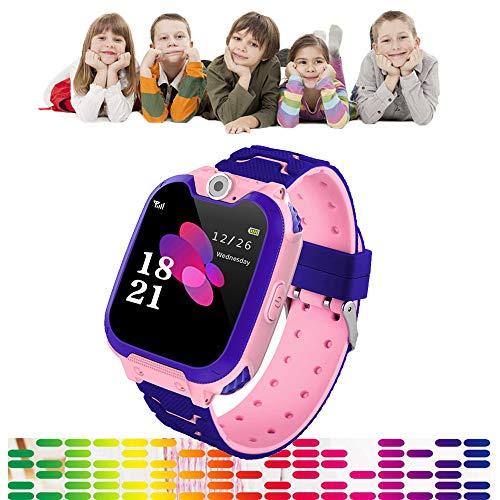 Full Screen Kinderen Smart Phone Horloge Gaming, Touch Kleur Scherm Jongens Meisjes Smartwatch 300.000 Pixels HD Camera 84 graden groothoek Lens, Muziek spelen, Gaming, Opnemen, Geen behoefte App, roze