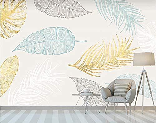 ZZXIAO Golden Tropical Leaves Wallpaper Wandbild Schlafzimmer Wand wandpapier fototapete 3d effekt tapete Wohnzimmer Schlafzimmer Hintergrundbild-300cm×210cm