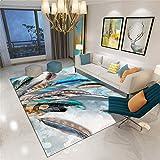 alfombras Bebes habitacion Azul Alfombra de salón Alfombra Antideslizante de patrón Simple de Plumas Azules Lavable Alfombra Dormitorio 80X160CM alfombras acusticas 2ft 7.5''X5ft 3''