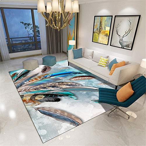 Kunsen Alfombra Exterior terraza Alfombra Silla Oficina Alfombra Rectangular con patrón de Plumas de Colores para la Sala de Estar Moderna del Dormitorio habitacion 60X90CM 1ft 11.6' X2ft 11.4'