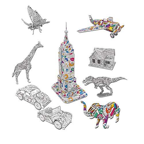 Tacey Klassisches 3D-Farbpuzzleset, Puzzles Im 9er-Pack Mit 36 Stiftmarkierungen, 3D-Puzzle Für Kinder Ab 6 Jahren, Lustiges Kreatives DIY-Spielzeuggeschenk Für Mädchen Und Jungen