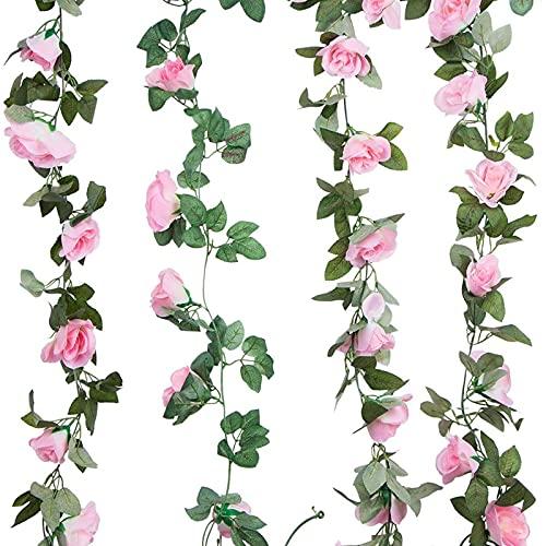 otutun 4 Pezzi Ghirlanda di Rosa Artificiali,Fiori Artificiali da Appendere ,fiori di seta,Fiori di Seta Vite Finta Sospeso Rose Edera Piante ,per matrimoni, feste, decorazioni da giardino (rosa)