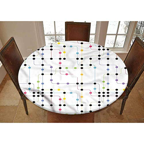 LCGGDB Colorful Elastic Edged Polyester Fitted Tablecolth -City Metro Scheme- Small Round Fitted Table Cover - Fits Tables up to 40-44' Diameter,The Ultimate Protection for Your Table
