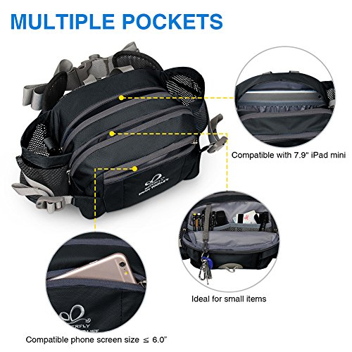 Waterfly Hiking Waist Pack Bum Bag Waist Bag with Bottle Holder Running Bag for Camping Climbing Travel Cycling and Dog Walking (Dark grey)