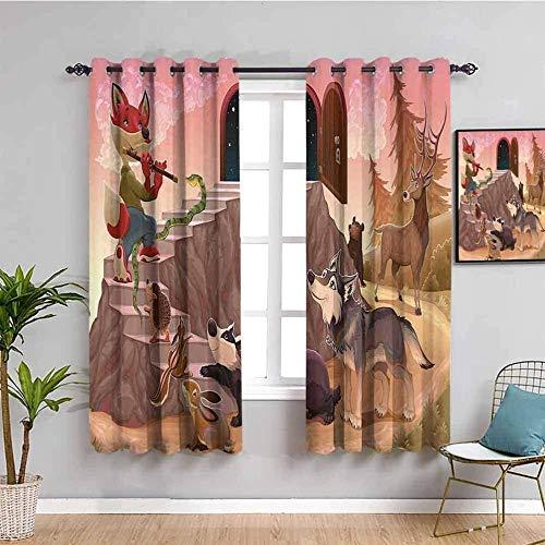 Nileco Cortinas de Opacas - Dibujos animados animal lobo zorro - 160x160 cm - 3D Impresión Digital con Ojales Aislamiento Térmico - para Sala Cuarto Comedor Salon Cocina Habitación