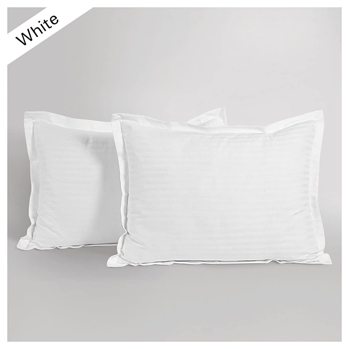 Scala Hotel Collection 800 Thread Count 2 Pc White Stripe Pillow Cases Queen Size- 22