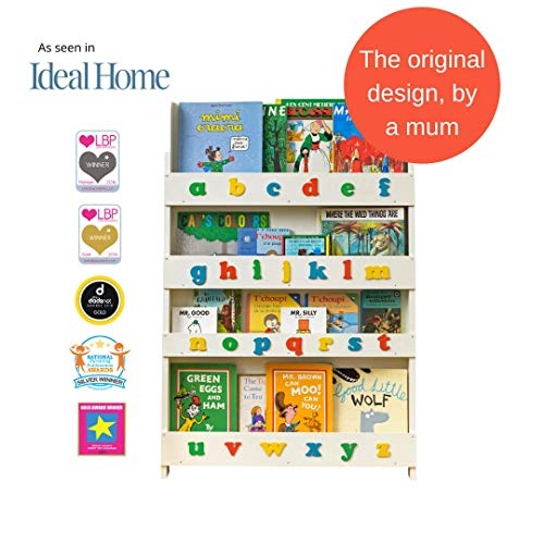 Tidy Books ® Estanteria infantil | Librería de pared para niños con abecedario 3D de colores | Madera | Blanca | 115 x 77 x 7 cm | ECO Friendly | Hecho a mano | La original desde 2004