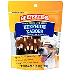 Real Beef #1 ingredient Low fat & high protein No colors or artificial flavors No corn/wheat/soy Oven baked, long lasting treat for dogs Delicious chicken, chicken Liver & sweet Potato