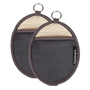 Cuisinart Oval Pot Holder/Oven Mitt w/ Pocket & Heat Resistant Non-Slip Silicone Grip, Grey 2pk