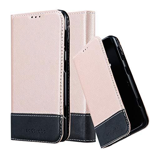 Cadorabo Hülle für Nokia Lumia 625 in ROSÉ Gold SCHWARZ – Handyhülle mit Magnetverschluss, Standfunktion & Kartenfach – Hülle Cover Schutzhülle Etui Tasche Book Klapp Style
