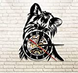 N/A LibjiaRetrato De Yorkie Artista Perro Tienda De Mascotas Arte De Pared Reloj De Pared Cachorro Ricky Yorkie Reloj De Registro De Vinilo Yorkshire Terrier Razas De Perros Regalo