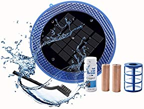 BLUE WORKS Solar Ionizer Powered Natural Pool Clear Purifier with 2 Copper Anode up to 40,000 Gallons