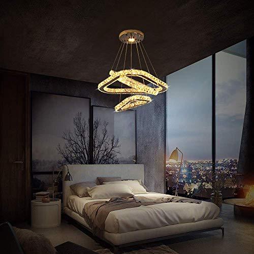 Lámpara LED para techo, moderna araña de cristal y acero inoxidable, para...