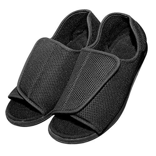 Cozy Ankle Men's Extra Wide Adjustable Diabetic Slippers for Extra Large, Swollen, Edema, Bunions, Flat Feet - Indoor/Outdoor Sandals (12 D(M) US, Black)