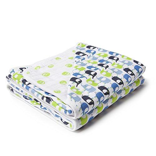 Zutano Zzz Organic Cotton Muslin Blankets for Girls or Boys, Extra Soft Baby Blankets, Green Elephants & Dots, OS