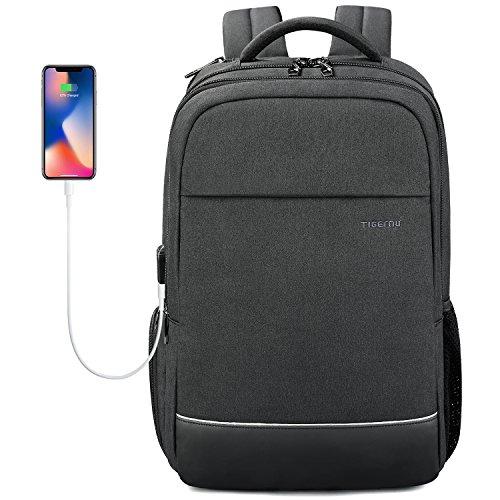 Norsens Anti-diebstahl Rucksack mit USB 15.6 Zoll Rucksack Wasserabweisend Umweltfreundliches Material, Schwarz