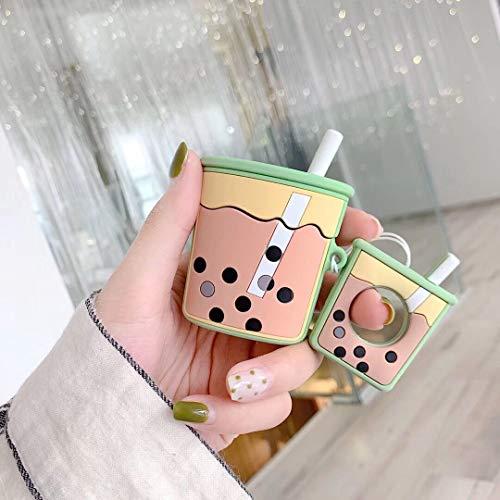Cocomii 3D Drink AirPods Hülle, Schlank Dünn Glänzend Sanft TPU Silikon Gummi Gel Mit Schlüsselring 3D Essen & Trinken Karikatur Mode Case Bumper Cover Schutzhülle for Apple AirPods (Green Milk Tea)