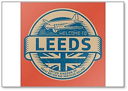 Stempel of Tag met Vliegtuig Tekst Welkom bij Leeds, Verenigd Koninkrijk Koelkast Magneet