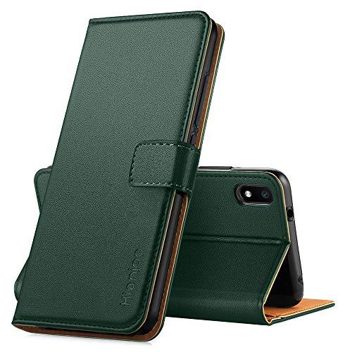 Hianjoo Hülle Kompatibel für Xiaomi Redmi 7A, Handyhülle Tasche Premium Leder Flip Wallet Hülle Kompatibel mit Xiaomi Redmi 7A [Standfunktion/Kartenfächern/Magnetic Closure Snap] - Dunkelgrün