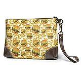 Ahdyr Bolso de mano de cuero para hamburguesas y papas fritas, bolsos con cremallera, monederos para mujeres, carteras para teléfono con ranuras para tarjetas con correa
