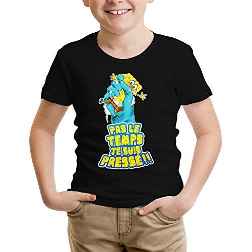 Okiwoki T-Shirt Enfant Noir Bob l'éponge parodique Bob : Eponge pressée. (Parodie Bob l'éponge)