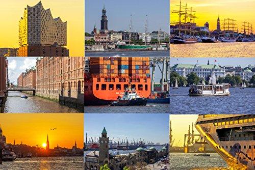 Exklusives Postkarten Set Hamburg - 10 Karten (Grußkarten) mit Hamburger Motiven (Elbphilharmonie, Hafen, Landungsbrücken, Alster, Elbe, Speicherstadt) - Fotos/Bilder/Souvenirs