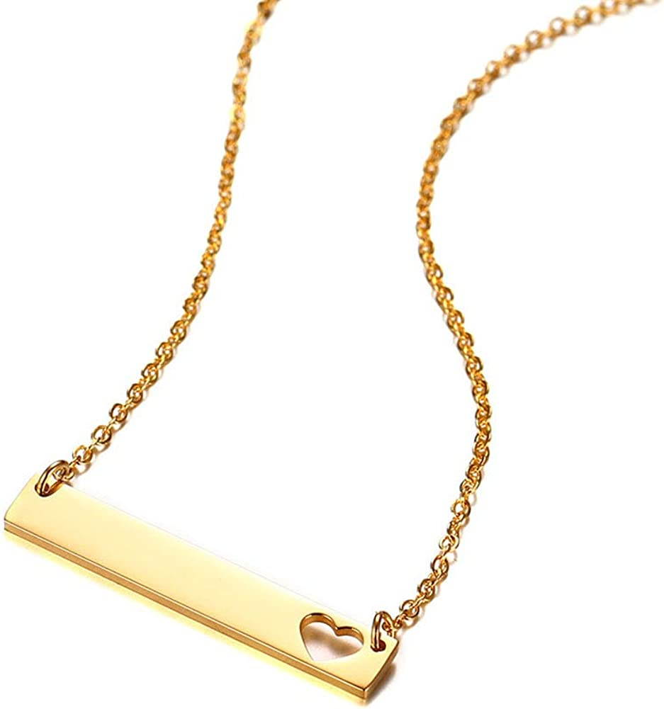 DEO JEWELRY Personalized Stainless Steel Name Bar Necklace Gold Plated Custom Initial Bar Pendant Gift for Wife Mama Sisters